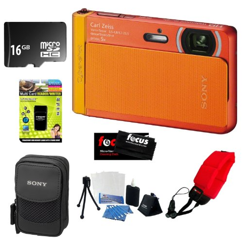 Sony Dsc-Tx30/D 18 Mp Digital Camera With 5X Optical Image Stabilized Zoom And 3.3-Inch Oled (Orange) +16Gb Memory Card Class 4 + Multi Card Reader Writer + Digital Camera Case + Floating Foam Strap Red + Flexible Tripod, Memory Card Wallet, 3Pc Cle