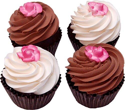 Rose Fake Chocolate Cupcake Assortment 4 Pack Box (Display Fake Cupcakes compare prices)