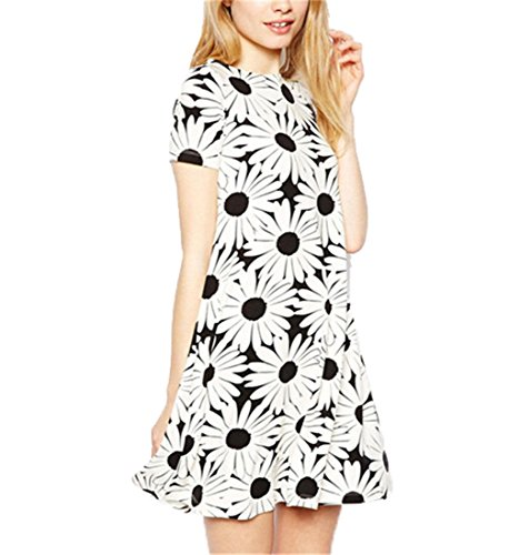 2014 Summer Hot Selling Daisy Flower Floral Short Sleeve Girl Campus Dress S-Xxl