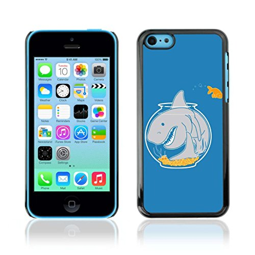A-type Colorful Printed Hard Protective Back Case Cover Shell Skin for Apple iPhone 5C ( Goldfish & Shark )