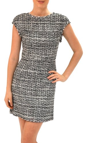 Alice + Olivia Women's Grisel Tweed Dress Black/White 6