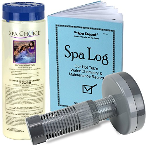 Bromine Tablets with Floating Dispenser - Sanitizer Kit for Hot Tub Spa with Log Book (Chlorine Hot Tub Dispenser compare prices)