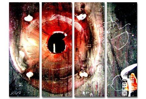 Eindrucksvolle Abstraktion! 4 teiliges Wandbild xxl günstig & modern (Broken_big_4x30x100cm) Deko Bilder fertig gerahmt mit Keilrahmen groß im Bilder Shop. Ausführung schöner Kunstdruck auf echter Leinwand als Wandbild mit Rahmen. Preiswerter als Ölbild Gemälde Foto Poster Plakat mit Bilderrahmen. Picture Style (abstrakt Formen rund Striche Muster Schrift digitale Kunst moderne Kunst rot schwarz). 100% Made in Germany.