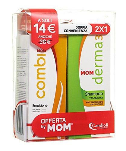 MOM trattamento pediculosi COMBI Emulsione con pettine + DERMA3 Shampoo ristrutturante