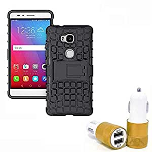 Droit Shock Proof Protective Bumper back case with Flip Kick Stand for CoolPad Denzone Note3 lite + Car Charger With 2 Fast Charging USB Ports by Droit Store.