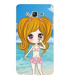 Printvisa Premium Back Cover Sweet Gir Lon A Beach Design For Samsung Galaxy On7::Samsung Galaxy On7 G6000FY