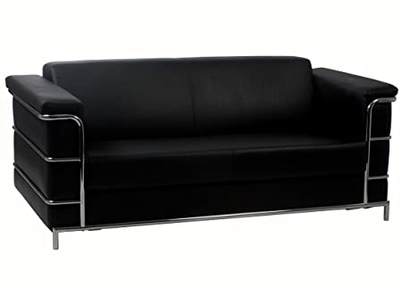 Eurostyle Leonardo Sofa In Black Leather & Chrome