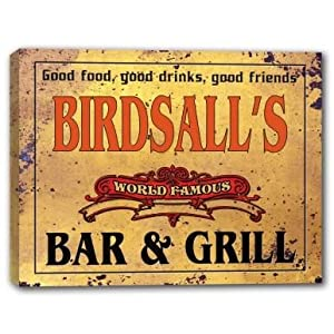 BIRDSALL'S World Famous Bar & Grill Stretched Canvas Print