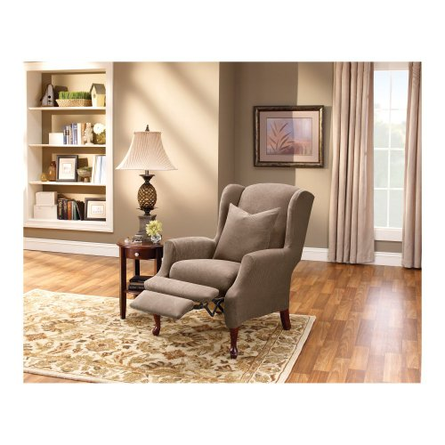 Sure Fit Stretch Pique Wing Recliner Slipcover, Taupe