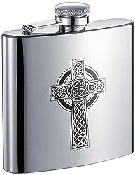 Visol Celtic Cross Stainless Steel Hip Flask, 6-Ounce, Chrome