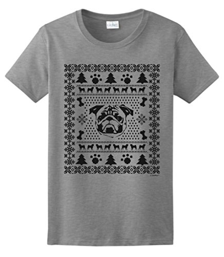 Pug Ugly Christmas Sweater Ladies T-Shirt Xx-Large Sport Grey