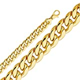 Wellingsale® 14k Yellow Gold 12.5mm Polished HOLLOW Fancy Cuban Chain Necklace