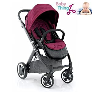 Babystyle Oyster Black Baby Pushchair - Claret Red Colour Pack + Carrycot - 0m+ by BabyStyle
