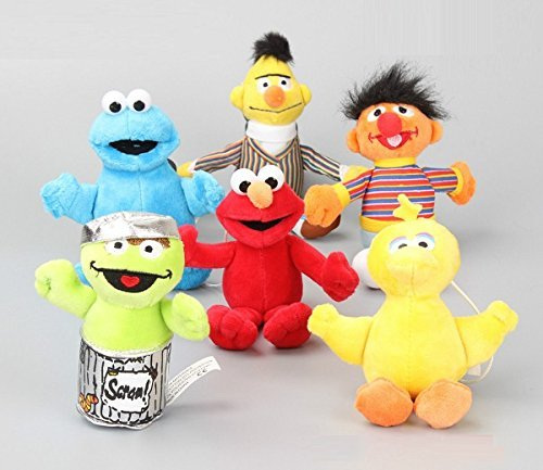Sesame Street Elmo Cookie Ernie Bird Bert Set of 6 pcs Soft Plush Figure Toy Anime Stuffed Animal Child Gift (Sesame Street Stuffed Animals)