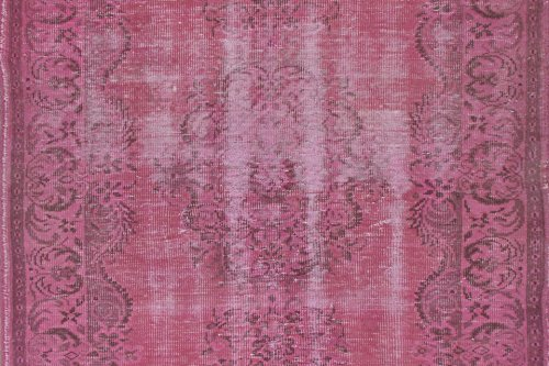 4.8 X 8 Feet Light Fuchsia Color Overdyed Vintage Handmade Turkish Rug