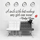 A smile is the best makeup-MARILYN MONROE WALL STICKER PAPER QUOTE DECAL ART Decor