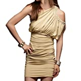Allegra K Women Beads Detail Cut out Shoulder Beige Ruched Mini Dress XS