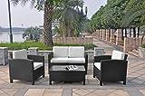 XINRO-13tlg-Deluxe-Lounge-Mbel-Set-Gruppe-Garnitur-Gartenmbel-Lounge-Set-Rattan-Polyrattan-Sitzgruppe-inkl-Lounge-Sofa-Sessel-Tisch-Glasplatte-mit-Kissen-InOutdoor-handgeflochten-schwarz