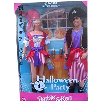 MATTEL BARBIE poupée blonde ET KEN , tous 2 en habit de PIRATE = coffret lot de 2 = halloween party gift set - target special edition, collection 1998