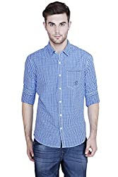 Showoff Men's Full Sleeves Slim fit Blue Checkered Casual Shirt