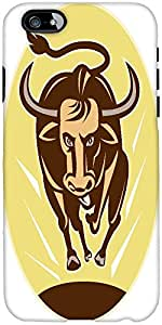 Snoogg Raging Texas Longhorn Bull Charging Designer Protective Back Case Cove...