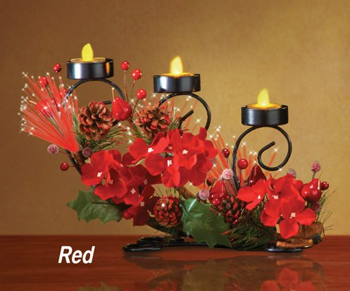 Led Tea Light Candle Red Christmas Flowers Centerpiece Accent Holiday Decoration