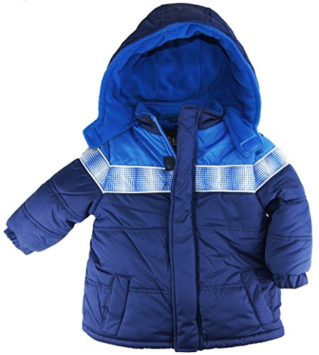 Ixtreme Baby Boys Infant Puffer Hooded Winter Jacket, Navy, 12M front-756694