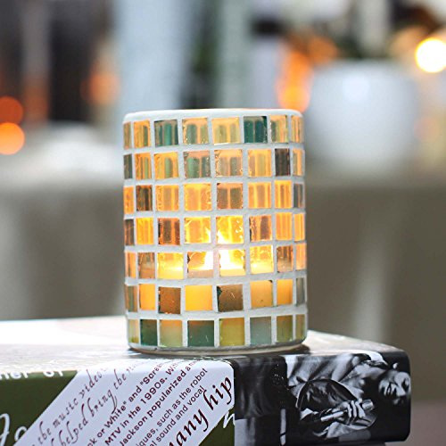 Led Candle,Home Impressions Flameless Wax Candle lantern lights With Timer,Wedding Decor,Grid Spring Green Color Mosaic Candle Glass,Battery Operated,3x4 Inch (Battery Operated Lamps With Shade compare prices)