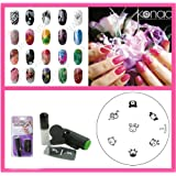 Bundle 3 Items : Konad Nail Art Mini Set Polish, Stamper, & Scraper + Image Plate S10 Animal Faces + A-viva Nail File