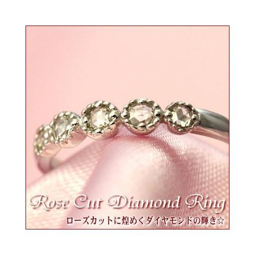 エタニティリング ローズカット ダイヤモンド ピンキー リング 0.1ct イエローゴールド,04号