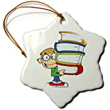 3dRose orn_118556_1 Cute Boy Student with Lots of Books Snowflake Porcelain Ornament, 3-Inch