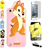 Bukit Cell ® 3D Cartoon Case Bundle - 4 items: ANIMATED CHIP Cute Soft Silicone Case Cover for iPod Touch 5 5G 5th Generation + BUKIT CELL Trademark Lint Cleaning Cloth + Screen Protector + METALLIC Stylus Touch Pen with Anti Dust Plug