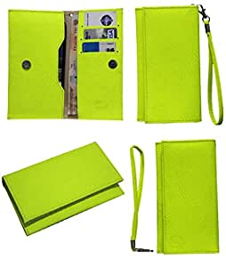 Jo Jo A5 G8 Leather Wallet Universal Pouch Cover Case For Plum Axe Plus 2 Parrot Green