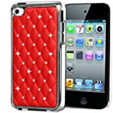 SKT - IPod touch 4th Generation New stylish Bling Chrome with diamante encrusted hard case cover - Red