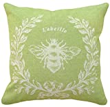 123 Creations 100-Percent Linen French Napoleon Bee Pillow, 18 W x 18 H