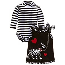 Bonnie Baby-girls Newborn Dalmation Corduroy Jumper, Black, 3-6 Months