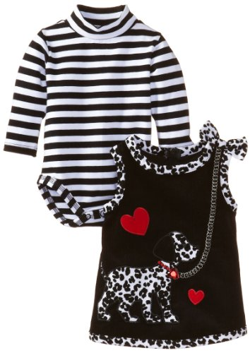 Bonnie Baby-Girls Newborn Dalmation Corduroy Jumper, Black, 6-9 Months front-977787