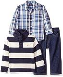 Nautica Baby Three Piece Set with Woven, Quarter Button Sweater, Denim Jean, Sport Navy, 18 Months
