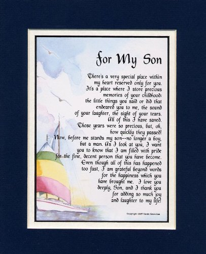 "Gift Baskets: ""For My Son"" A Touching 8x10 Poem, Double-matted Navy ..."