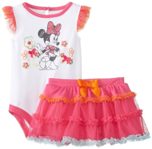 Disney Baby Baby-Girls Newborn Multi Colored Minnie Mouse Tutu Skirt Set With Glitter Skirt, Fuchsia Purple, 3-6 Months front-998137