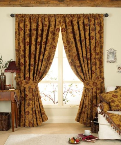 STUNNING GOLD/RED TAPESTRY CHENILLE CURTAINS 66 x 90