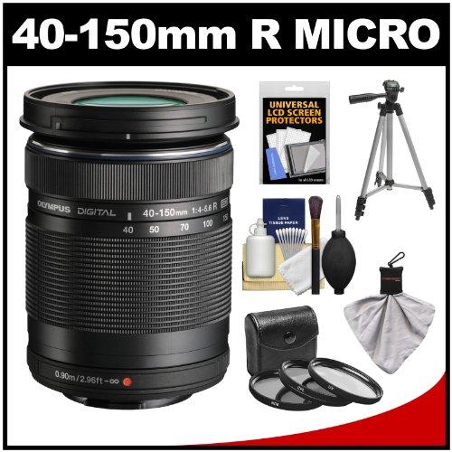 Olympus M.Zuiko 40-150Mm F/4.0-5.6 R Micro Ed Digital Zoom Lens (Black) With Tripod + 3 Uv/Cpl/Nd8 Filters + Accessory Kit For Om-D E-M5, E-M1, E-M10, Pen E-P5, E-Pl3, E-Pl5, E-Pm2 Cameras