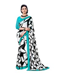 Saptrangi Women's Faux Georgette Saree With Blouse Piece (Blue)
