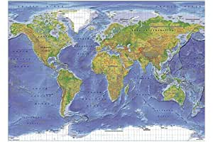 24x36 World Map Physical Terrain Art Poster Print Kitchen a
