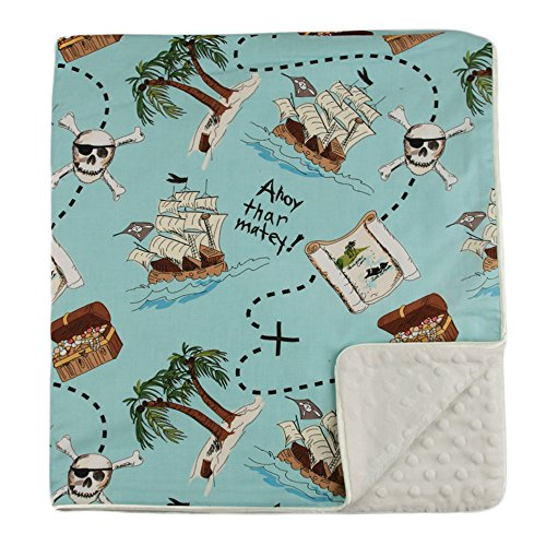 "My Blankee Treasure Hunt Organic Cotton Blue w/ Minky Dot Cream Baby Blanket, 30"" X 35"""