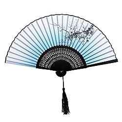 Generic Plum Blossom Pattern Hand Fan Bamboo Japanese Folding Fan Pocket Fan Blue