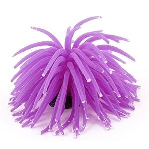 Uxcell Silicone Mini Aquarium Anemone Sea Coral Ornament, Purple