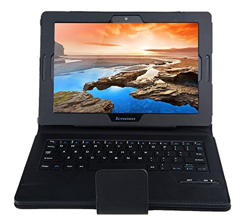 IVSO Bluetooth Keyboard Portfolio Case for Lenovo IdeaTab A10-70 - DETACHABLE Bluetooth Keyboard Stand Case / Cover for Lenovo IdeaTab A10-70 Tablet (Black) at Electronic-Readers.com