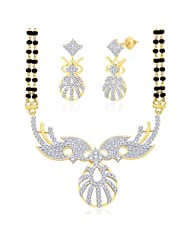 "Peora 18 Karat Gold Plated Cubic Zirconia ""Hemangi"" Mangalsutra Earrings Set PM90GJ"