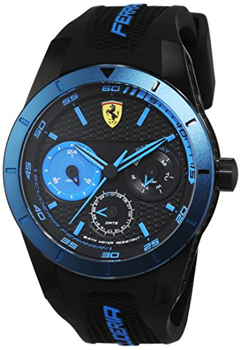 Scuderia Ferrari Orologi hombre-reloj Red rebt analógico de cuarzo silicona 0830256